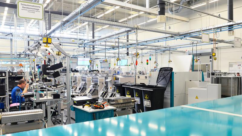 Interior an architecture of a industrial building for production. And assembly of microelectronics components stock photography