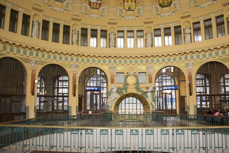 Interior art and classic retro building in Prague main railway station or praha hlavni nadrazi stock images