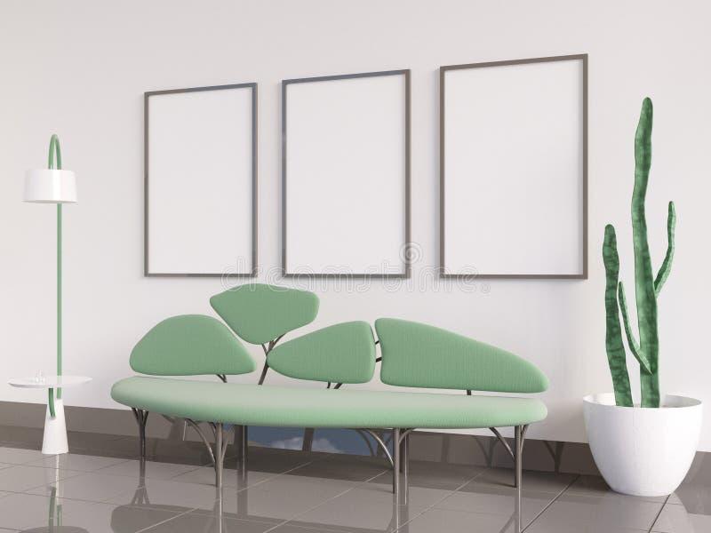 Interior ascendente falso del cartel, sofá bajo la forma de árbol, en una representación blanca del fondo 3D, ejemplo 3D stock de ilustración