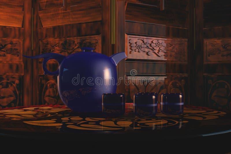 Interior asiático con el crisol del té libre illustration