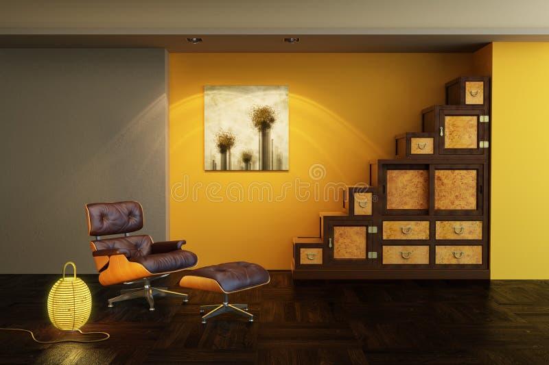Interior asiático del estilo libre illustration