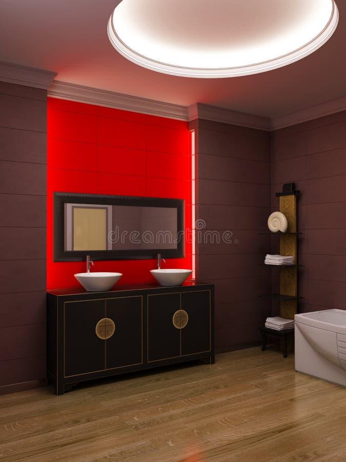 Interior asiático do banheiro do estilo ilustração royalty free