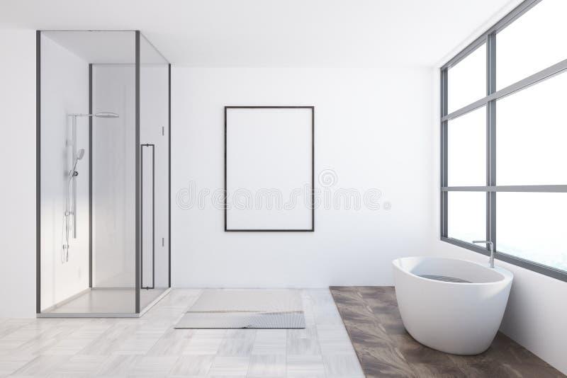 Interior asiático do banheiro do estilo, cartaz ilustração stock