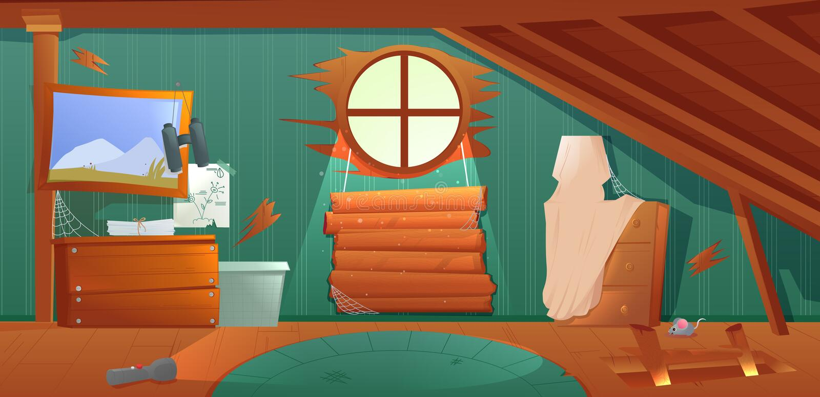 The interior of the attic. An old forgotten room with boxes on the roof. Lamp and pictures and stairs to the top. stock illustration
