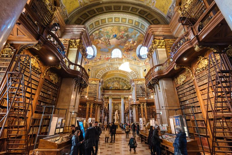 Interior of Austrian National Library. Vienna, Austria - December 24, 2017. Interior of Austrian National Library - old baroque library of Hapsburg empire royalty free stock photo