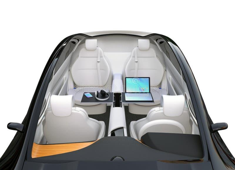 Interior autónomo del coche stock de ilustración