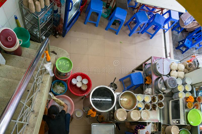 Interior of authentic Vietnamese ban cha restaurant. View from a royalty free stock images