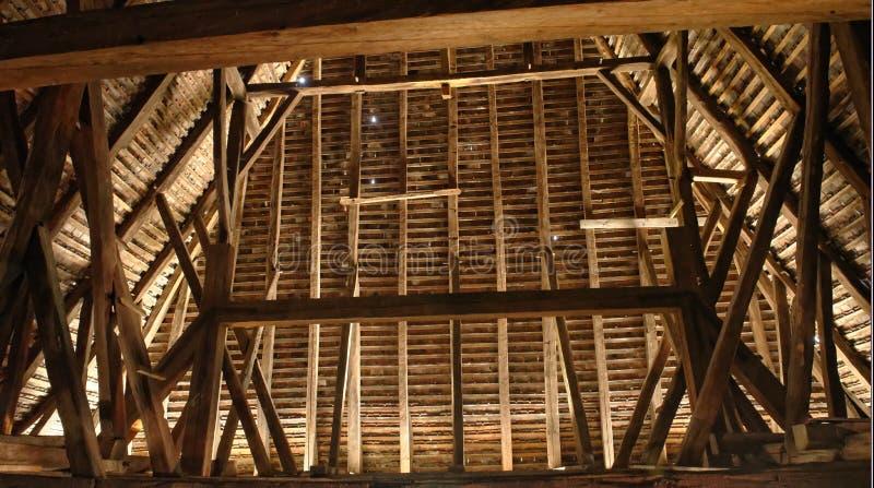 Interior of the Axente Sever Church in Frauendorf, Romania. Wooden eaves inside the Axente Sever Church in Frauendorf Romania stock image