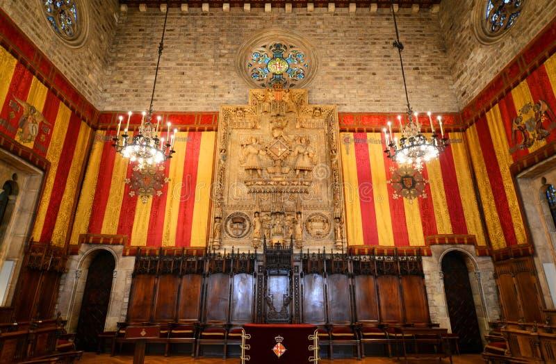 Interior ayuntamiento, Barcelona, España Barcelona s foto de archivo