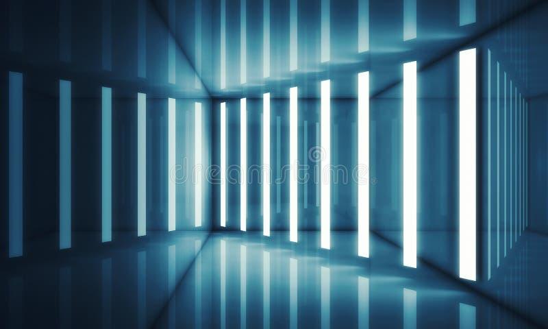 Interior azul abstrato da sala com luzes de néon ilustração do vetor