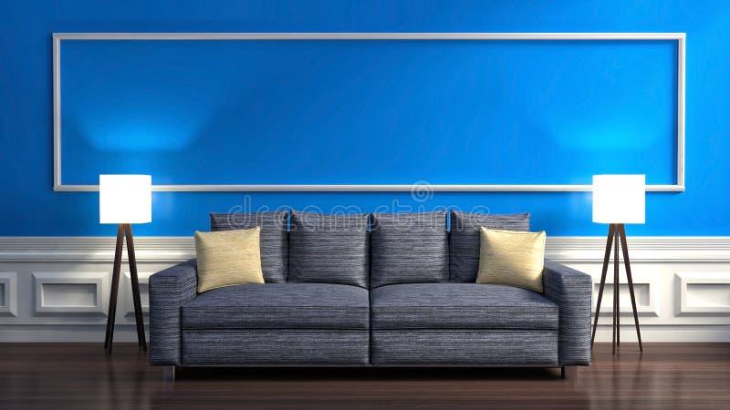 Interior azul clássico com sofá e lâmpada ilustração 3D ilustração do vetor