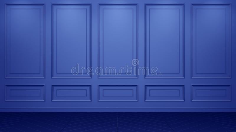 Interior azul cl?sico con el espacio de la copia Paredes rojas con la decoraci?n cl?sica Raspa de arenque del entarimado del piso libre illustration
