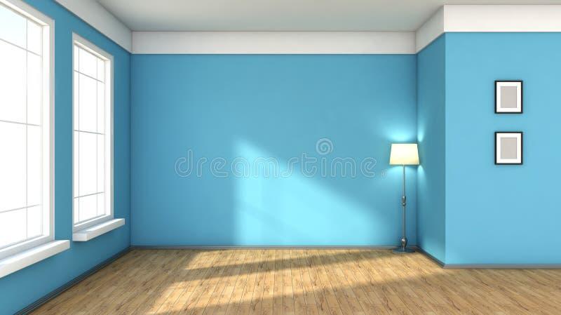 Interior azul com grande janela ilustração do vetor