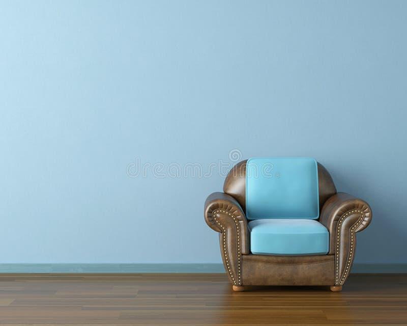 Interior azul com sofá ilustração do vetor