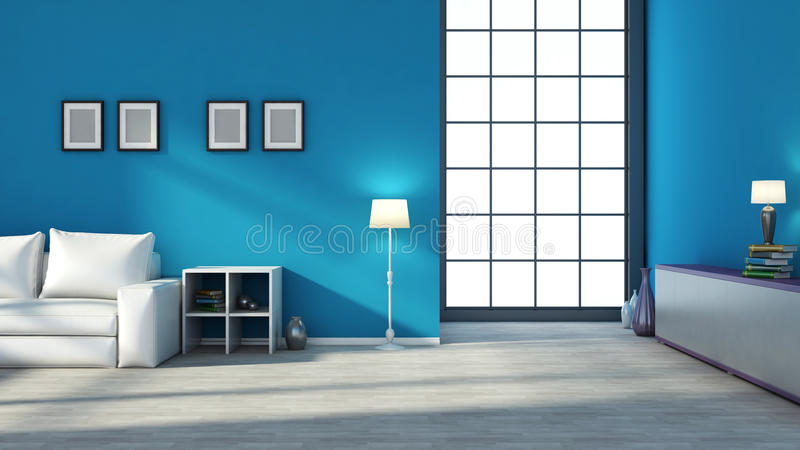 Interior azul con la ventana grande stock de ilustración