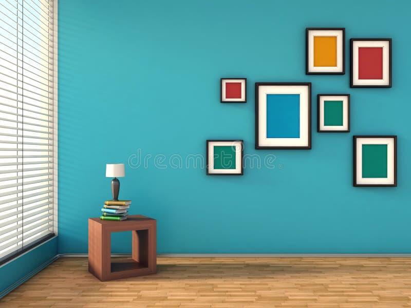 Interior azul con las pinturas y la lámpara coloridas ilustración del vector