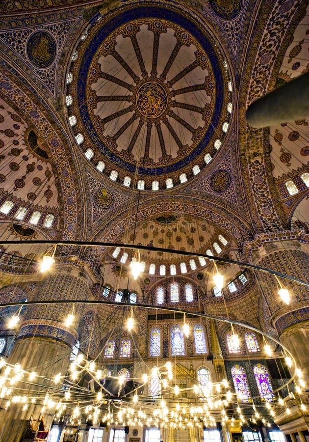 Interior azul da mesquita foto de stock