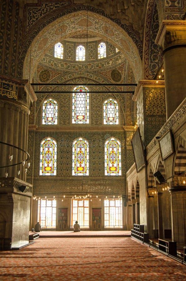 Interior azul da mesquita, Istambul fotos de stock