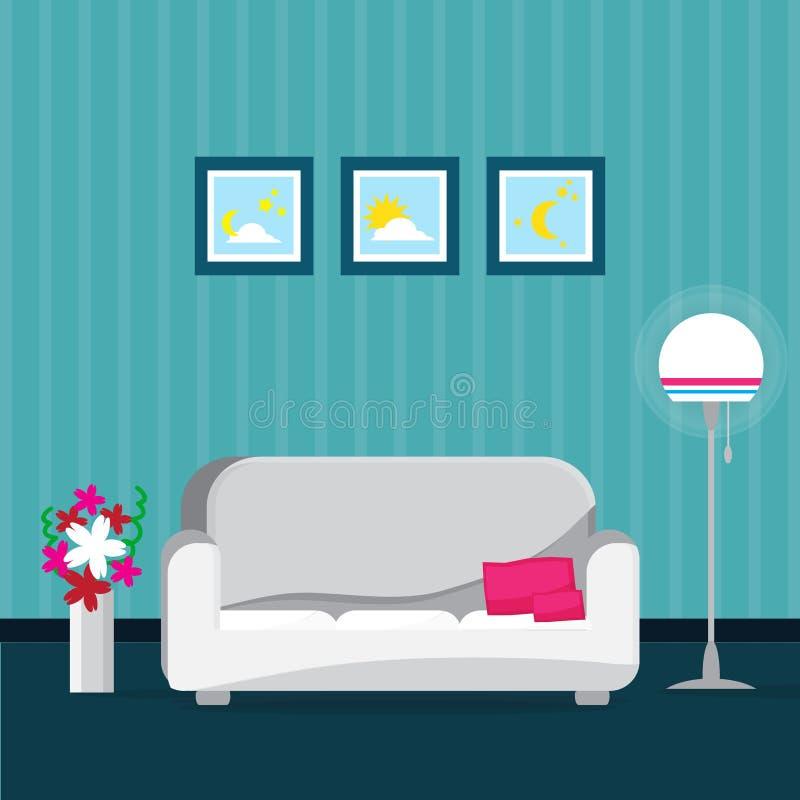 Interior azul da sala de visitas com poltrona, janela Jogo da mobília ilustração royalty free