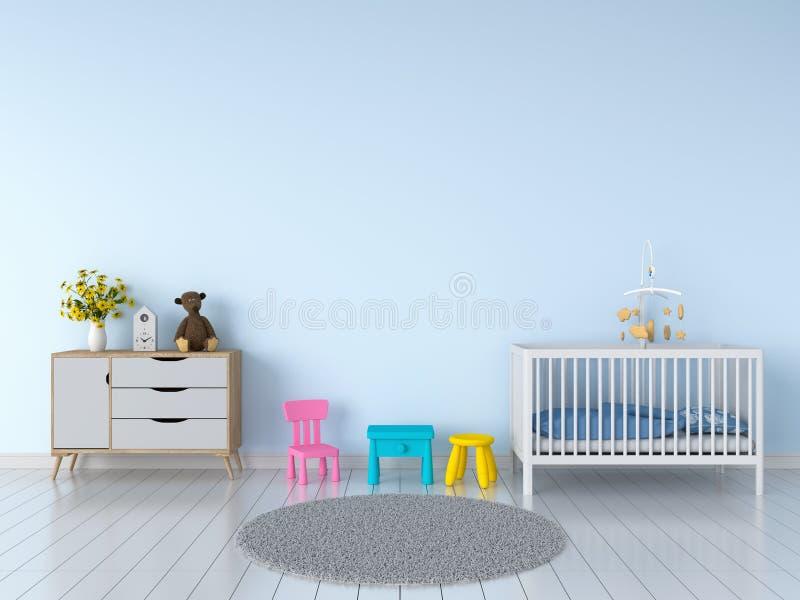 Interior azul de la habitación del niño para la maqueta, representación 3D fotos de archivo