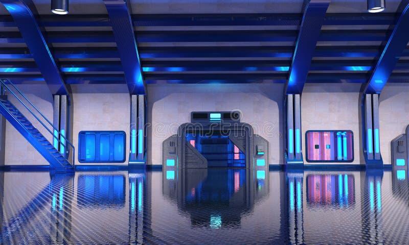 Interior azul del hangar de la ciencia ficción