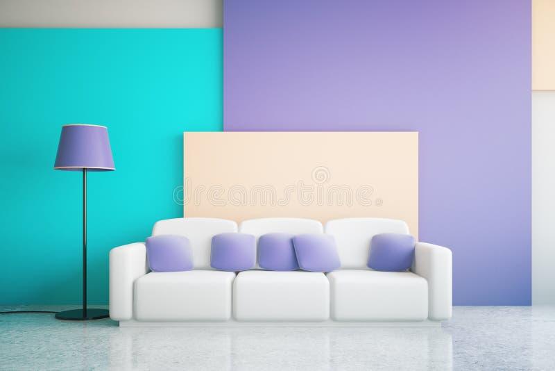Interior azul e roxo da sala ilustração do vetor