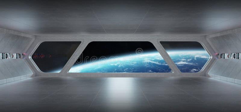 Interior azul gris futurista de la nave espacial con la opinión sobre el planeta Eart ilustración del vector