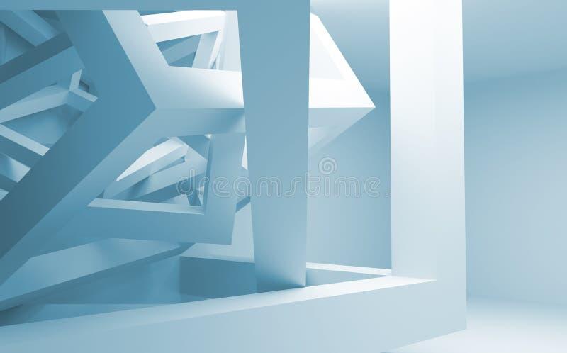 Interior azul y blanco del extracto 3d con la construcción caótica ilustración del vector