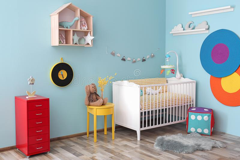 Interior of baby room with crib. Interior of baby room with comfortable crib royalty free stock photo