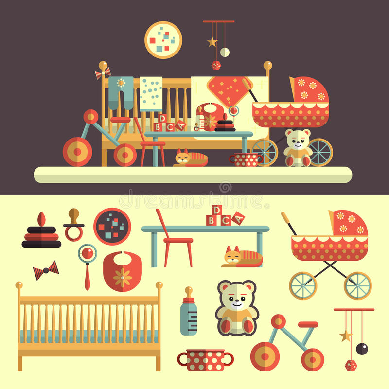 Interior of baby room and toys set for kids vector illustration