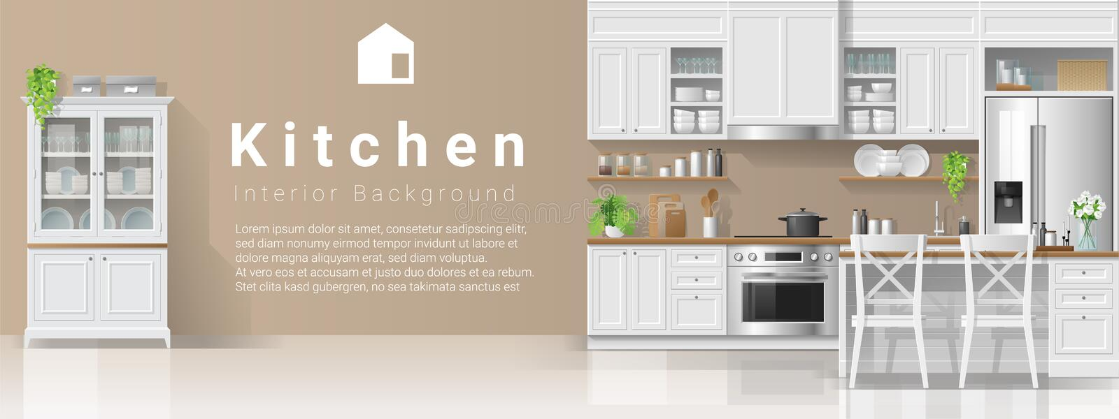 Interior background with kitchen in modern rustic style stock illustration