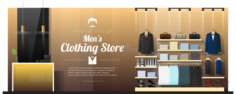 Interior background of luxury men clothing store. Vector , illustration vector illustration