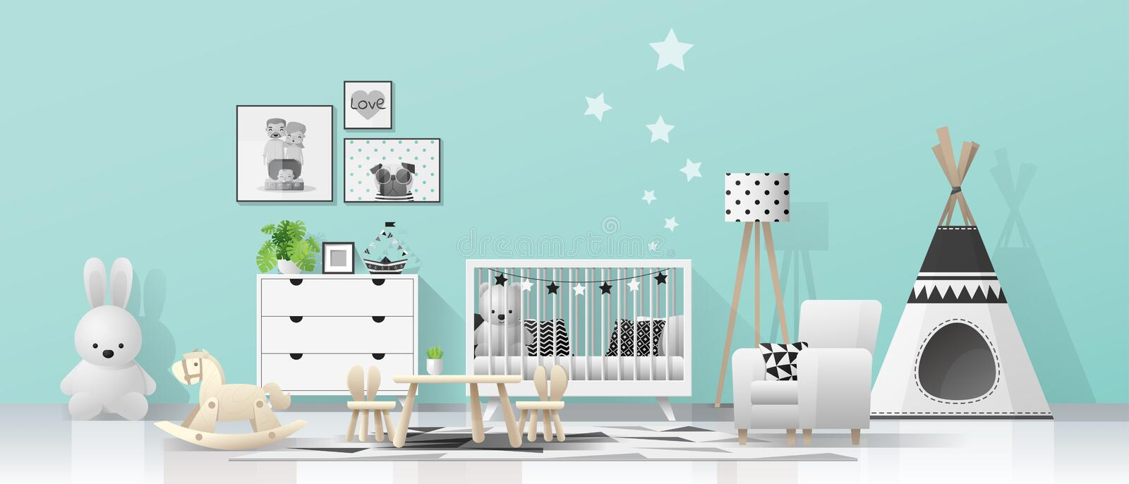 Interior background with modern baby room royalty free illustration