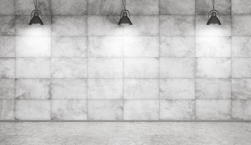 Concrete wall and floor interior background 3d rendering royalty free illustration