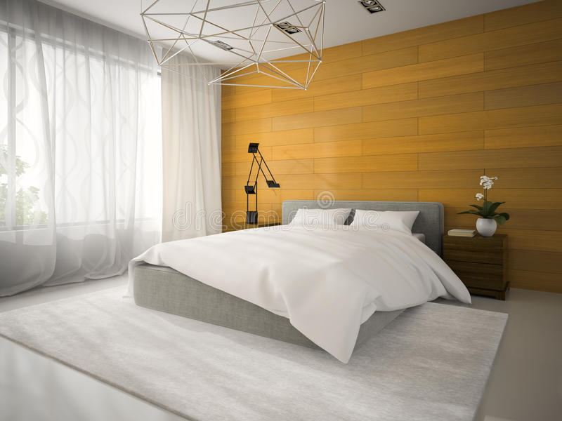 Interior of badroom with wooden wall 3D rendering vector illustration