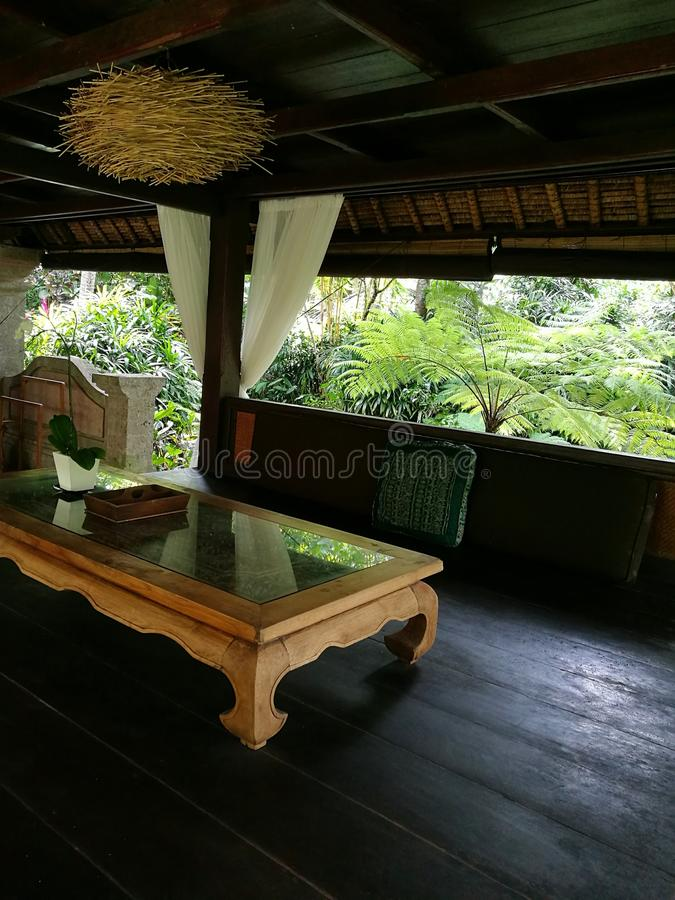 Interior of Balinese pavilion for relaxing royalty free stock image