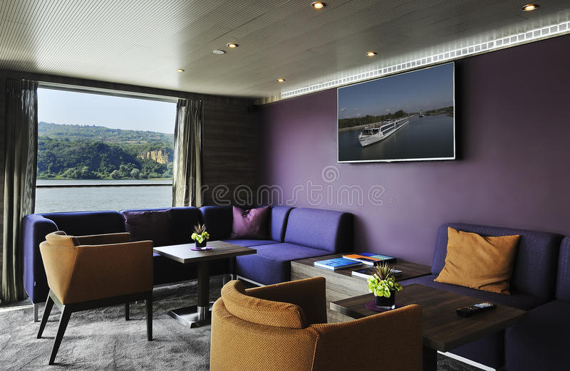 Interior of a bar lounge on a cruise ship stock photo