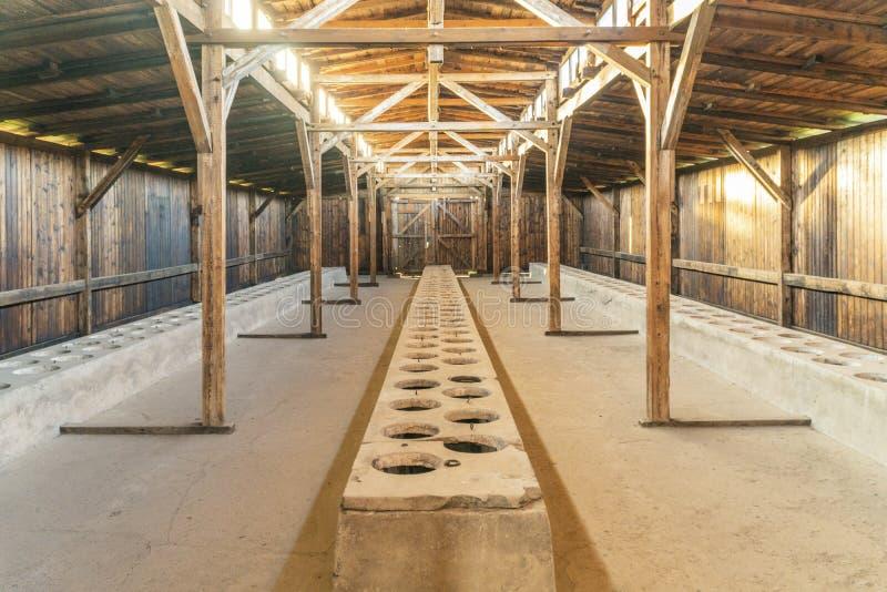 Interior of barrack in Auschwitz Birkenau concentration camp, Poland stock image