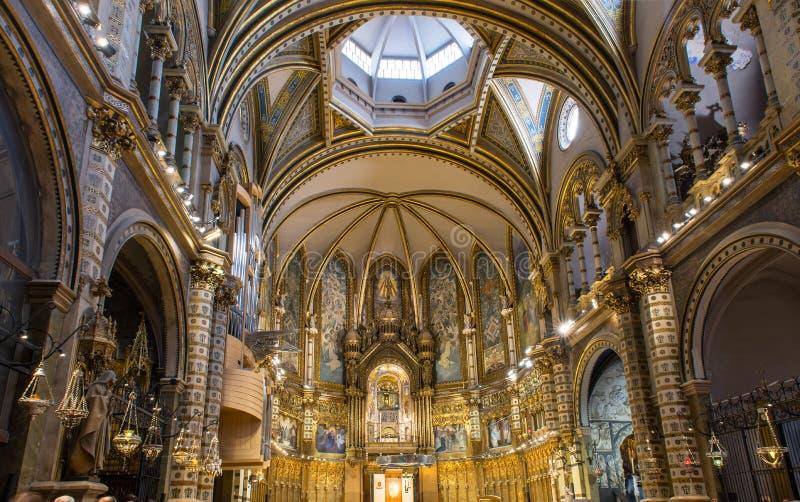 Interior of Basilica in Abbey of Montserrat near Barcelona, in Catalonia stock photo