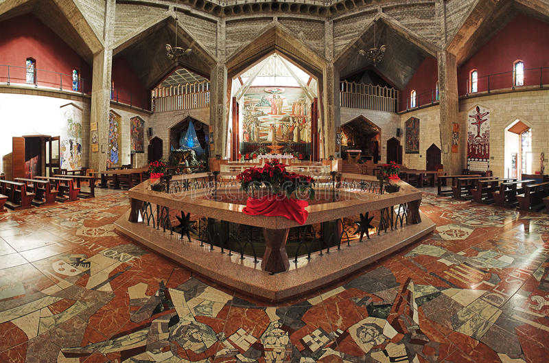 Interior of the Basilica of the Annunciation royalty free stock images