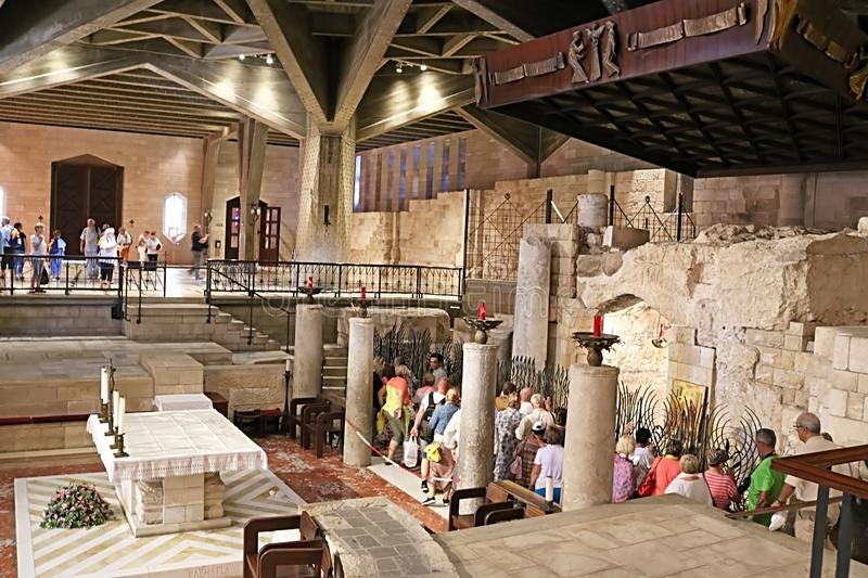 Interior of the Basilica of the Annunciation or Church of the Annunciation in Nazareth royalty free stock images
