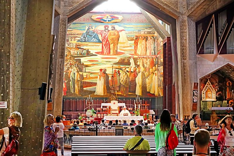 Interior of the Basilica of the Annunciation or Church of the Annunciation in Nazareth royalty free stock photo
