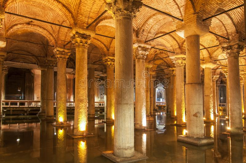 Interior of the Basilica Cistern, Yerebatan Sarayi, Istanbul Turkey.  stock photography