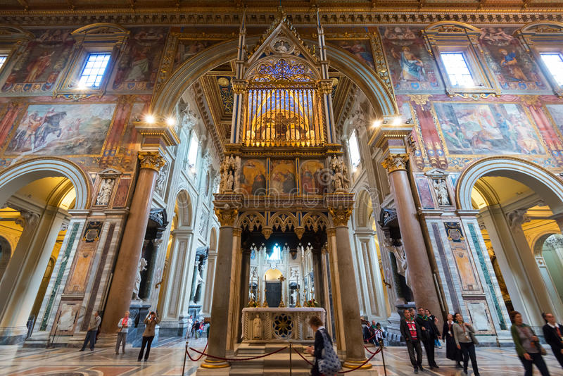 Interior of the Basilica di San Giovanni in Laterano, Rome. ROME, ITALY - MAY 14, 2014: Interior of the Basilica di San Giovanni in Laterano (Papal Archbasilica royalty free stock photography