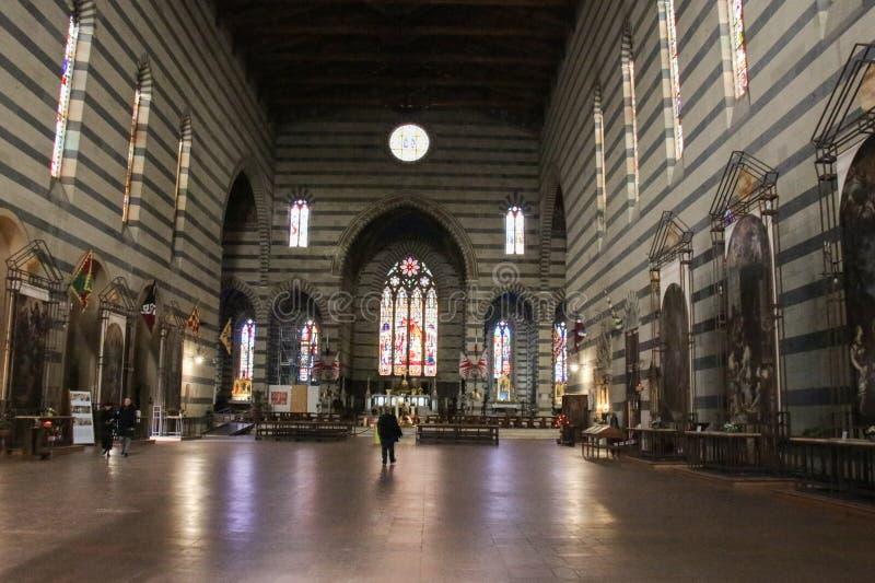 Interior of Basilica San Francesco in Siena. Tuscany, Italy. royalty free stock photography