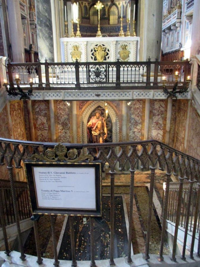Interior Basilica San Juan de Letrán Statue de Saint Jean-Baptiste Tombe Pape Martin V Roma Italy Europe. Statue de Saint Jean-Baptiste Tombe Pape Martin V stock photography