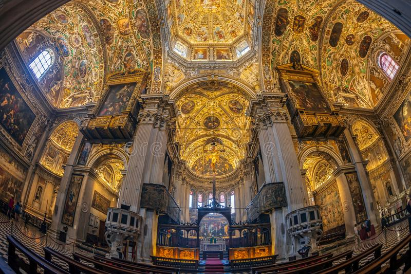 Interior of the Basilica of Santa Maria Maggiore, Bergamo, Italy. BERGAMO, ITALY - JUNE 30, 2019: Interior of the Basilica of Santa Maria Maggiore founded in stock images