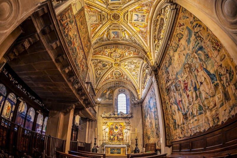 Interior of the Basilica of Santa Maria Maggiore, Bergamo, Italy. BERGAMO, ITALY - JUNE 30, 2019: Interior of the Basilica of Santa Maria Maggiore founded in royalty free stock photos