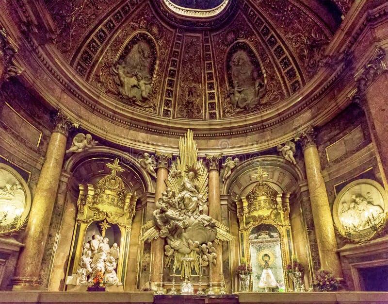 Interior of the basilica of the Virgen del Pilar, Zaragoza, Aragon, Spain. royalty free stock photography