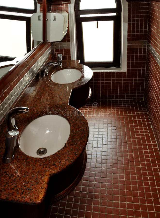 Interior of bath room in modern restaurant stock images